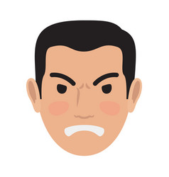 Angry man avatar user pic front head view vector