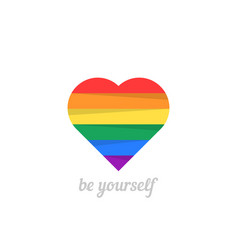 be yourself with iridescent heart vector image