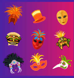 Carnival italy and brazil masks celebration vector