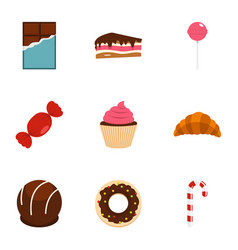 Different sweet icon set flat style vector