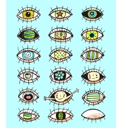 Eyes sketchy hand drawn doodle collection vector