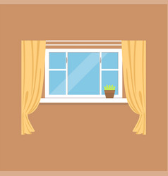 Flat window with curtains on brown wall vector