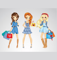Girs in jeens clothes do shopping vector