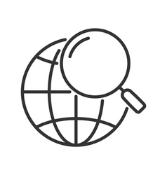 Global search line icon vector