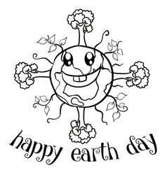 Happy earth day with tree on world vector