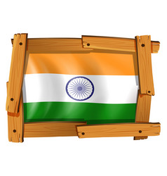India flag in wooden frame vector