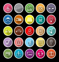 International business line flat icons with long vector image vector image