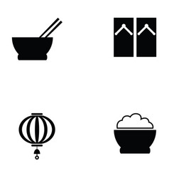 japanese icon set vector image
