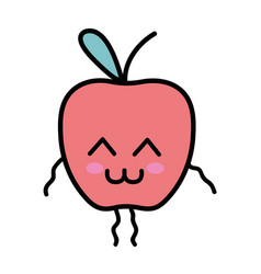 Kawaii cute tender apple fruit vector