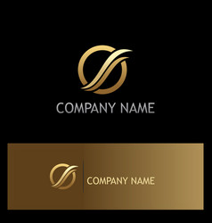Loop wave round gold company logo vector