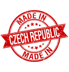 Made in czech republic red round vintage stamp vector