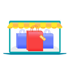 online shopping laptop shopping with a laptop vector image vector image