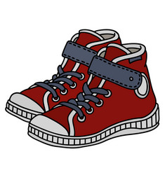 Red childrens sneakers vector