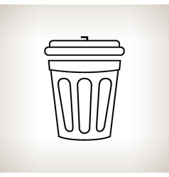 Silhouette dustbin on a light background vector