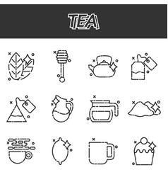 tea cartoon concept icons vector image