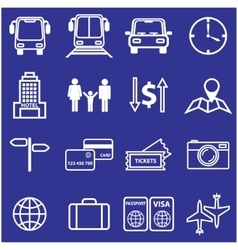 Travel and vacation line icons set vector