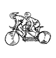 two sport men on track cycling vector image