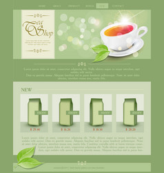 website template tea shop vector image vector image