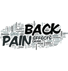 z side effects of back pain text word cloud vector image vector image