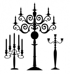 Set of candelabra silhouettes vector