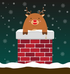 Cute fat big reindeer come out of chimney vector