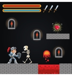 Warrior skull and videogame design vector