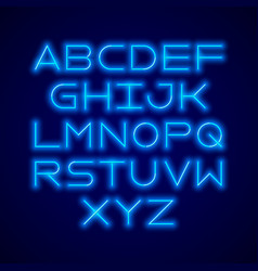 Thin neon tube modern font vector