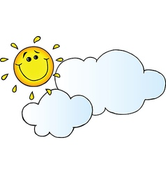 Smiling sun behind cloud vector