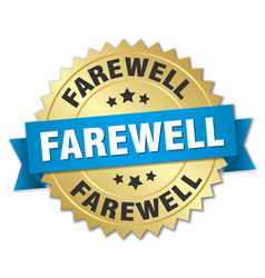 Farewell round isolated gold badge vector