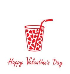 Martini glass with straw and hearts valentines day vector
