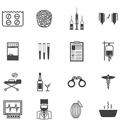 Black icons for the psychiatrist expert in vector