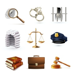Law legal icons set vector