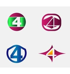 4 alphabet font number abstract logo symbol vector