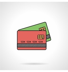Credit cards flat color icon vector