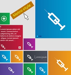 Syringe icon sign buttons modern interface website vector