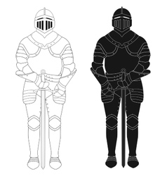 Standing knight medieval armor statue contour vector