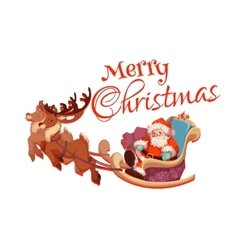 Merry christmas greeting card with santa claus on vector