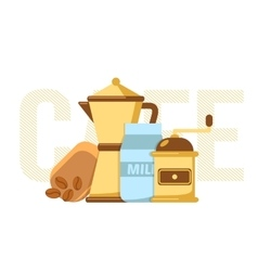 Coffee maker coffee mill and milk vector
