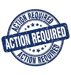Action required blue grunge round vintage rubber vector