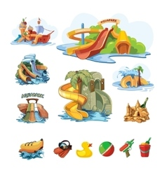 Icion set of Water slides in an aquapark vector image