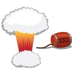 Red barrel of dynamite and a bomb blast vector