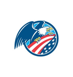 American Bald Eagle Clutching USA Flag Circle vector image
