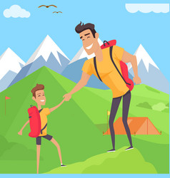 Boy climbing with his father in mountains vector