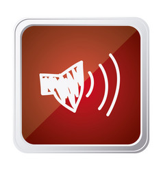 button of audio speaker volume with background red vector image vector image