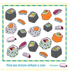 Different types of sushi - game vector