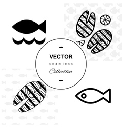 Fish seamless background set vector image vector image