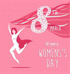 Happy international womens day celebration girl vector