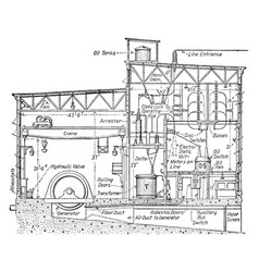Hydro-electric station vintage vector