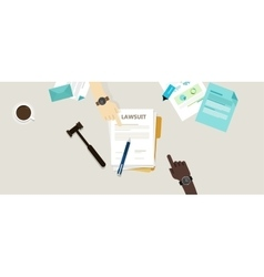 lawsuit paper hands pen gavel on desk vector image vector image