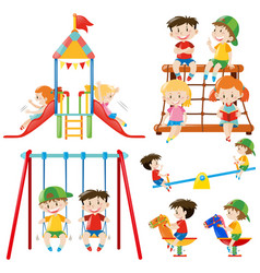 many children playing in playground vector image